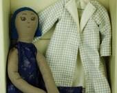 OOAK,  Australian made Calliope rag doll, Vintage Upcycled Fabrics, Vegan Cloth Doll, Jess, Blue Hair, Brown Eyes, 19 inches