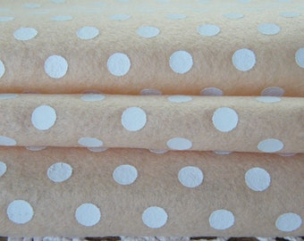 Vanilla Cream Spring  Polka Dots Felt