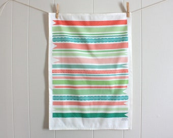 Pretty Ribbons in Pink, Red and Green - Linen Cotton blend Tea Towel 18 x 24 inch