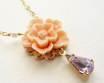 Bridesmaid jewelry, Blush flower violet rhinestone necklace, angel skin nude Cherry Blossom Sakura wedding jewelry set