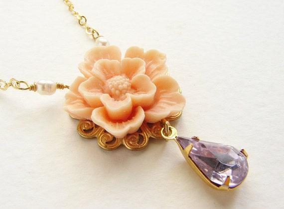 Bridesmaid jewelry, Blush flower violet rhinestone necklace, angel skin nude Cherry Blossom Sakura wedding jewelry set