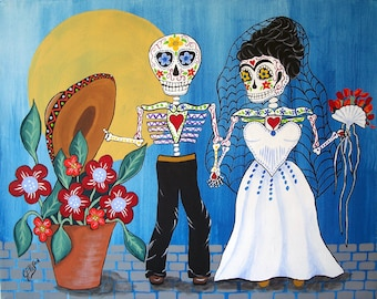 """Frida Kahlo and Diego Rivera """"The Wedding"""" 8""""x10"""" Day Of The Dead Art Print Poster Mexican Folk Artist J Ellison Other sizes available"""