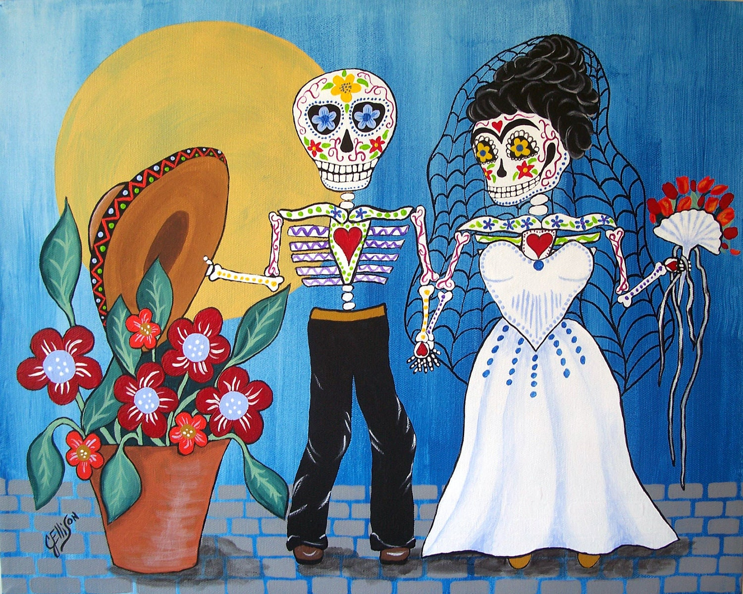 Frida kahlo and diego rivera the wedding for Dia de los muertos mural