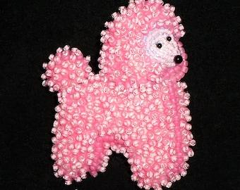 MINIATURE POODLE pin pink beaded keepsake dog pendant necklace (Ready to Ship)