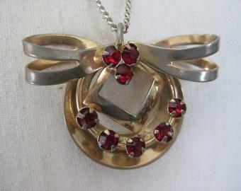 Shabby Bow Red Necklace Rhinestone Vintage Pendant