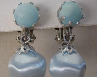Blue Satin Earrings Dangle Silver Clip Vintage