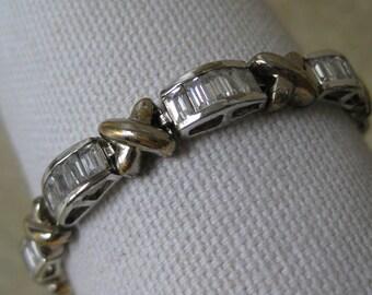 Sterling Silver Bracelet Crystal Clear Vintage X 925 Tennis