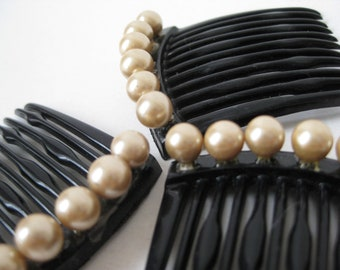 Pearl Black Hair Comb Barrettes Off White Vintage