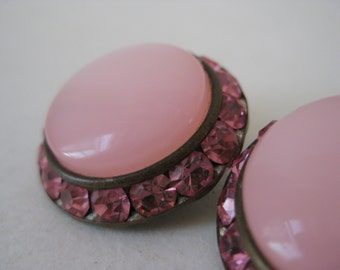 Pink Rhinestone Thermoset Earrings Clip Vintage Round