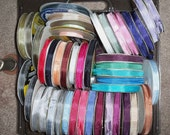 CUSTOM for Debbie -  65 Yards Seam Binding Ribbon, plus 12 Chipboard Tags #21, 45 Colors Total ex Pink, Turquoise, Red, White, Paris