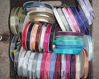 NEW 5 Colors Mint-Lilac-Coral-Ivory-YellowOrange, Seam Binding Ribbon, Per Yard Sale, 45 Colors Total ex Pink, Turquoise, Red, White, Paris