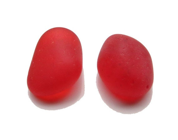 1 Pair of RED Sea Beach Glass / Perfect for Earrings or Jewelry Piece