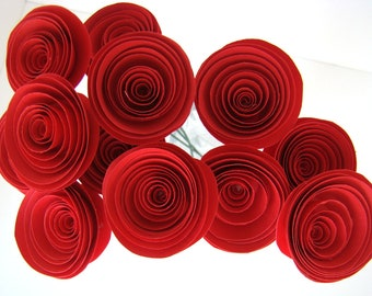 One Dozen Spiral Paper Roses with Stems - Red Roses