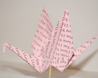 Custom Printed Origami Crane Party Picks - Single Crane