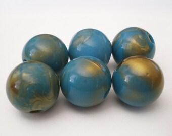 16mm Blue Turquoise Gold tone Swirl acrylic beads - 6 pcs