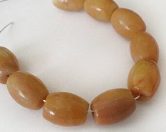 14x11mm Golden Jade barrel tube gemstone - 6pcs