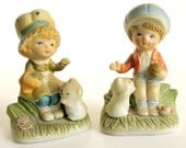 Vintage Homco Boy and Girl with Cat Collectible Ceramic Figurines