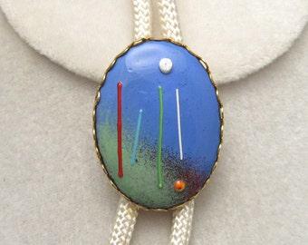 Vintage Enamel Bolo Necklace N5029