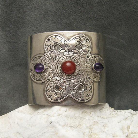 Wide Vintage Sterling Cuff Bracelet Amethyst Carnelian Tulla Booth B4734