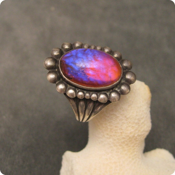 Deco Sterling Dragons Breath Ring R4756