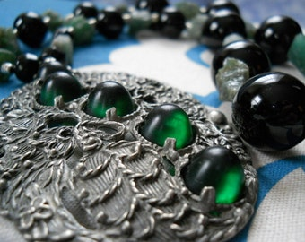 Endure necklace - black onyx, green apatite, Hill Tribe silver, vintage brooch