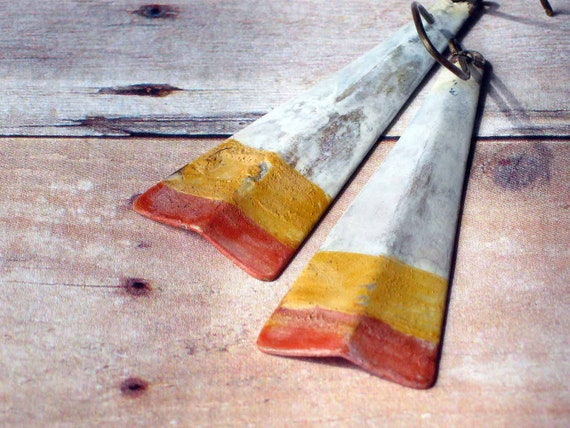 Candy Corn Earrings - Triangle Dangles with Patina - Halloween - Tribal Rustic Autumn - White, Saffron Yellow, Paprika Orange - Fall Fashion