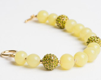 Lemon Peridot Bracelet with Gold and Pave Crystal Fireballs in Yellow Lime Green - Night on the Town