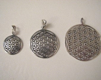3 pcs Flower of Life Pendants, 925 Sterling Silver Different Sizes
