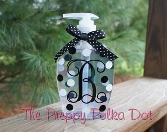 Personalized Monogram Polka Dot  Soap Filled Dispenser