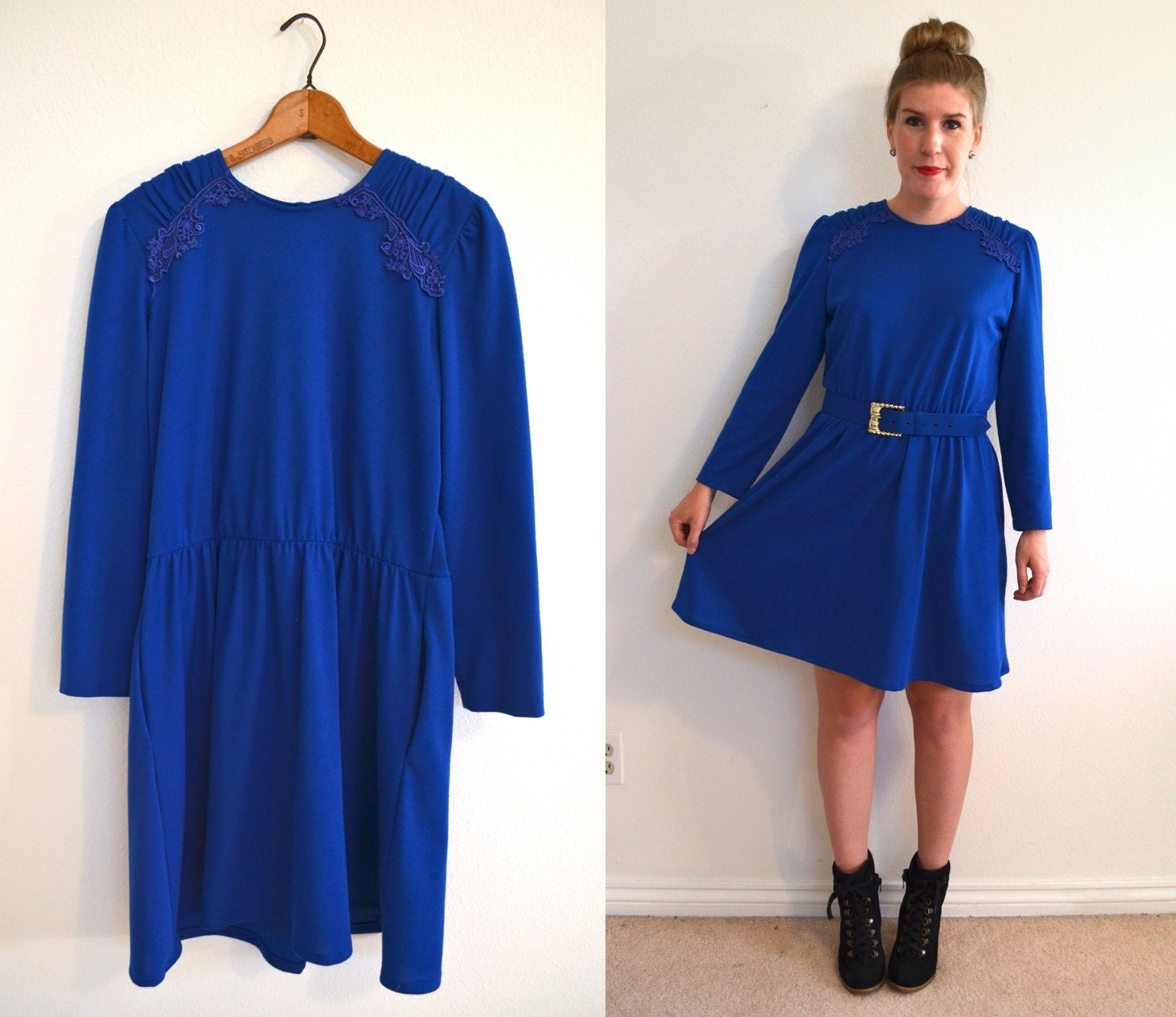 Long Sleeve Blue Dresses