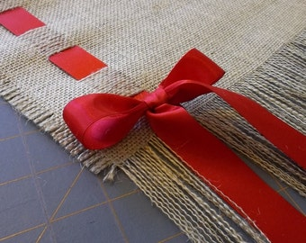 Fringed Burlap Runner with Satin Ribbon