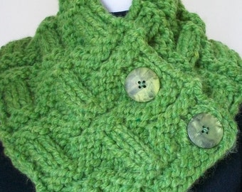 Hand Knit Grass Green Chunky Neckwarmer Neck Warmer Cowl