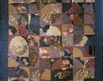 Patchwork Quilt - blue, purple and brown Japanese Drunkard's Path