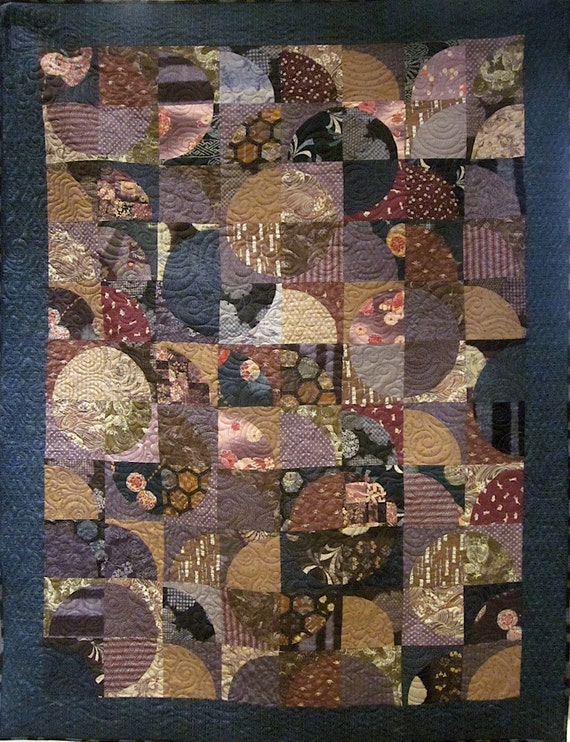 Patchwork Quilt Blue Purple And Brown Japanese
