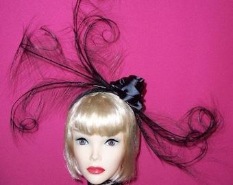 Black Feather Headband By Taissa Lada,Black Feather Fascinator,Burlesque Headpiece,Flapper,1920s,Bridal Headpiece,Fascinator,Vaudeville