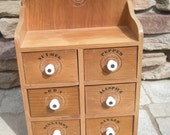 Antique Wood 6 Drawers Spice Chest with Porcelain Knobs