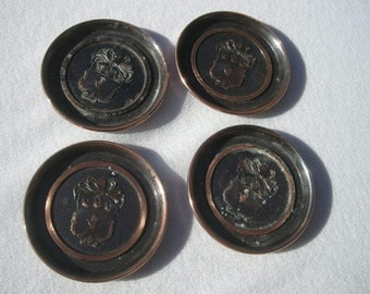 Vintage Hyde Park Copper Coasters Featuring Crest with 3 birds  helmet  hand palm up