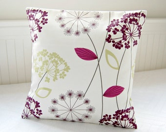 aubergine apple green pink allium cushion cover, flower dandelion pillow cover 18 inch