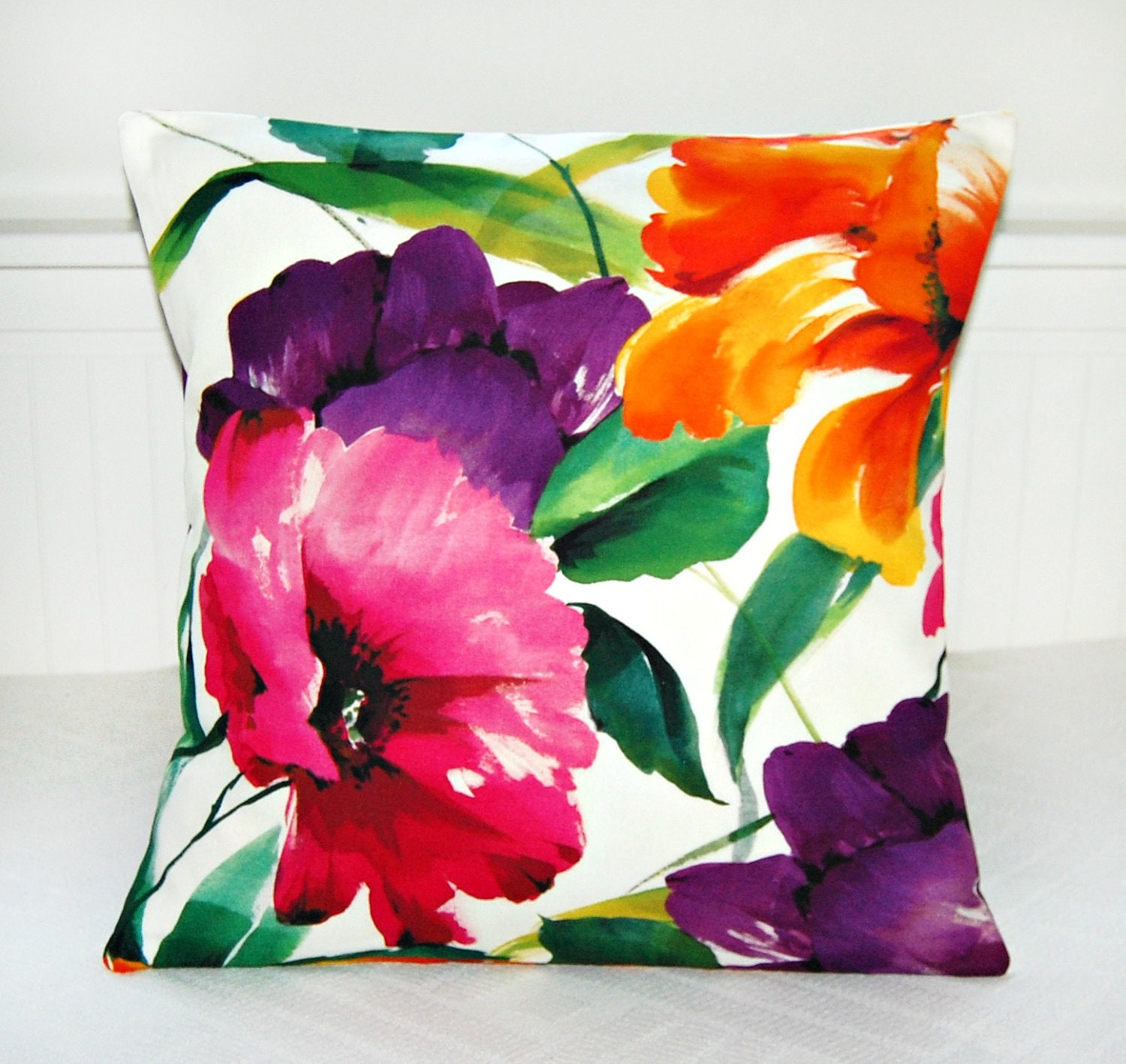 Large Flower Throw Pillow : large flowers cushion cover floral art decorative pillow