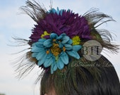 Peacock Feather Wedding Headpiece and Hair Clip - Purple & Turquoise Gerbera Daisies