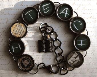 Teachers I Teach Bracelet Blackboard Teaching Education Themed Jewelry Teacher Gift
