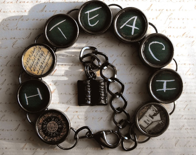 Teachers I Teach Bracelet Blackboard Teaching Education Themed Jewelry Teacher Gift