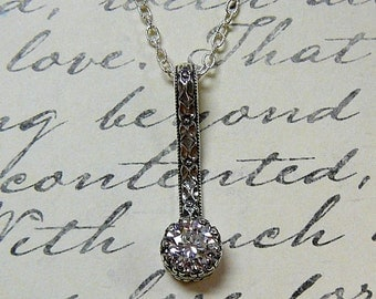 Antique Sterling Silver Necklace with 1 Carat Swarovski CZ Diamond