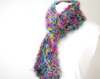 Hand Knit Lace Scarf - Fuzzy Jeweltone Thick Knit Scarf for Teen or Woman