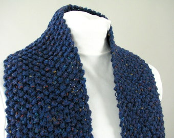 Men's City Scarf from Reclaimed Yarn - Hand Knit Pebbled Blue Tweed Wool Blend Scarf, for Adult Male