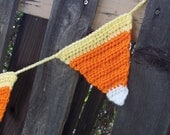 Candy Corn Crochet Garland - Bunting - Banner- Orange, Yellow, White Rustic Autumn Harvest Fall Halloween Decor Thanksgiving Decoration - ThePrairieCottage