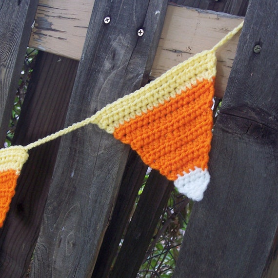Candy Corn Crochet Garland - Bunting - Banner- Orange, Yellow, White Rustic Autumn Harvest Fall Halloween Decor Thanksgiving Decoration