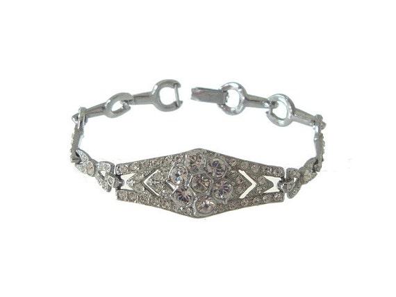 Art Deco Bracelet Original 1920s Vintage Rhinestone Wedding Jewelry