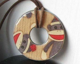 Cute Sock Monkey Washer Hardware Pendant Necklace Upcycled Papers