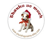 Round Puppy Christmas stocking stickers Medium size